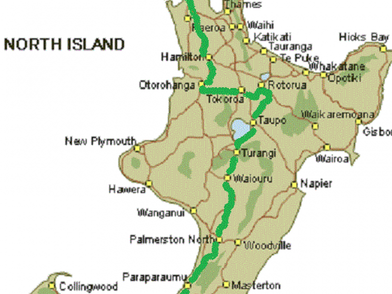 New Zealand North Island Road Map.New Zealand Self Drive Tours Wellington To Auckland Leisure